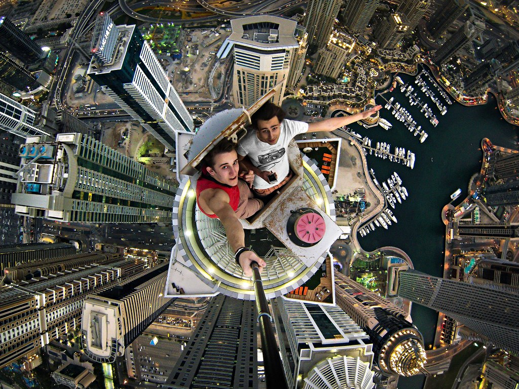 Their Greatest Achievement? Alexander Remnev's selfie on the 414-metre-high Princess Tower in Dubai